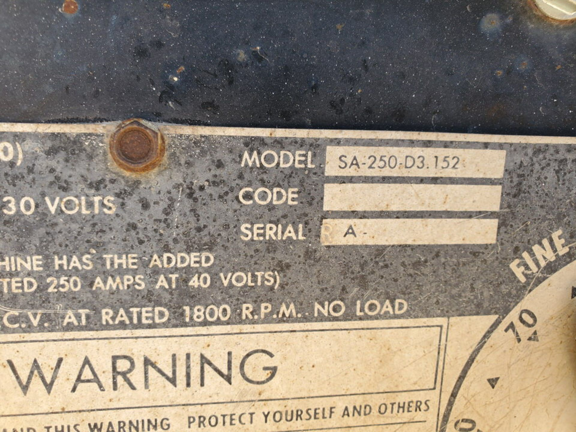 Lincoln Sa-250D3.152 Arc Welder - Image 10 of 11