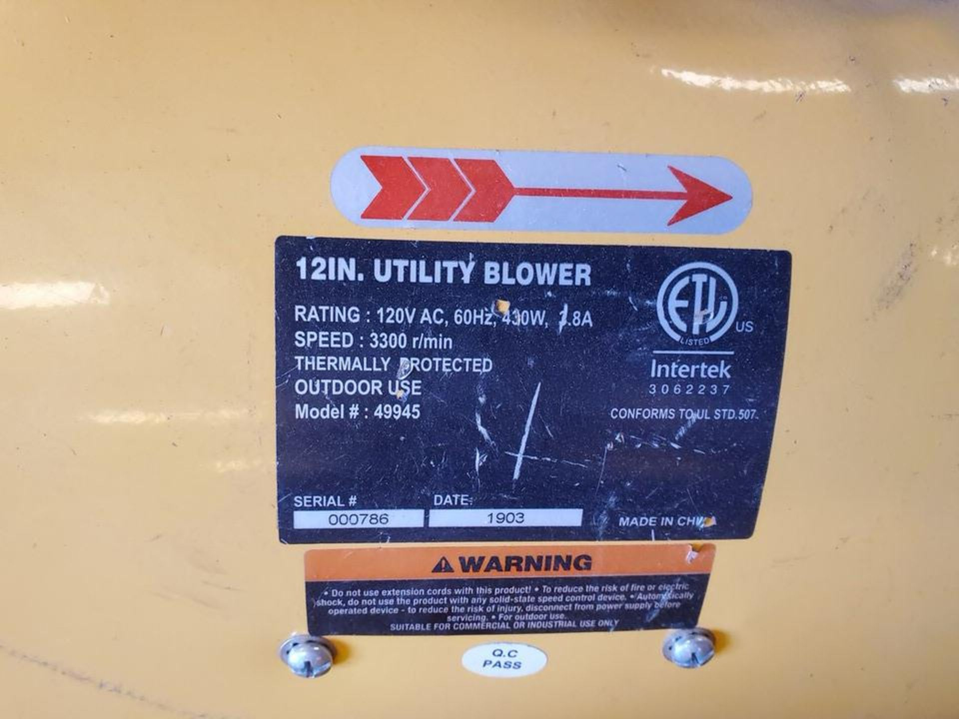 """Strongway (3) 12"""" Utility Blowers 120V, 430W, 1300RPM, 60HZ, 3.8A - Image 4 of 4"""