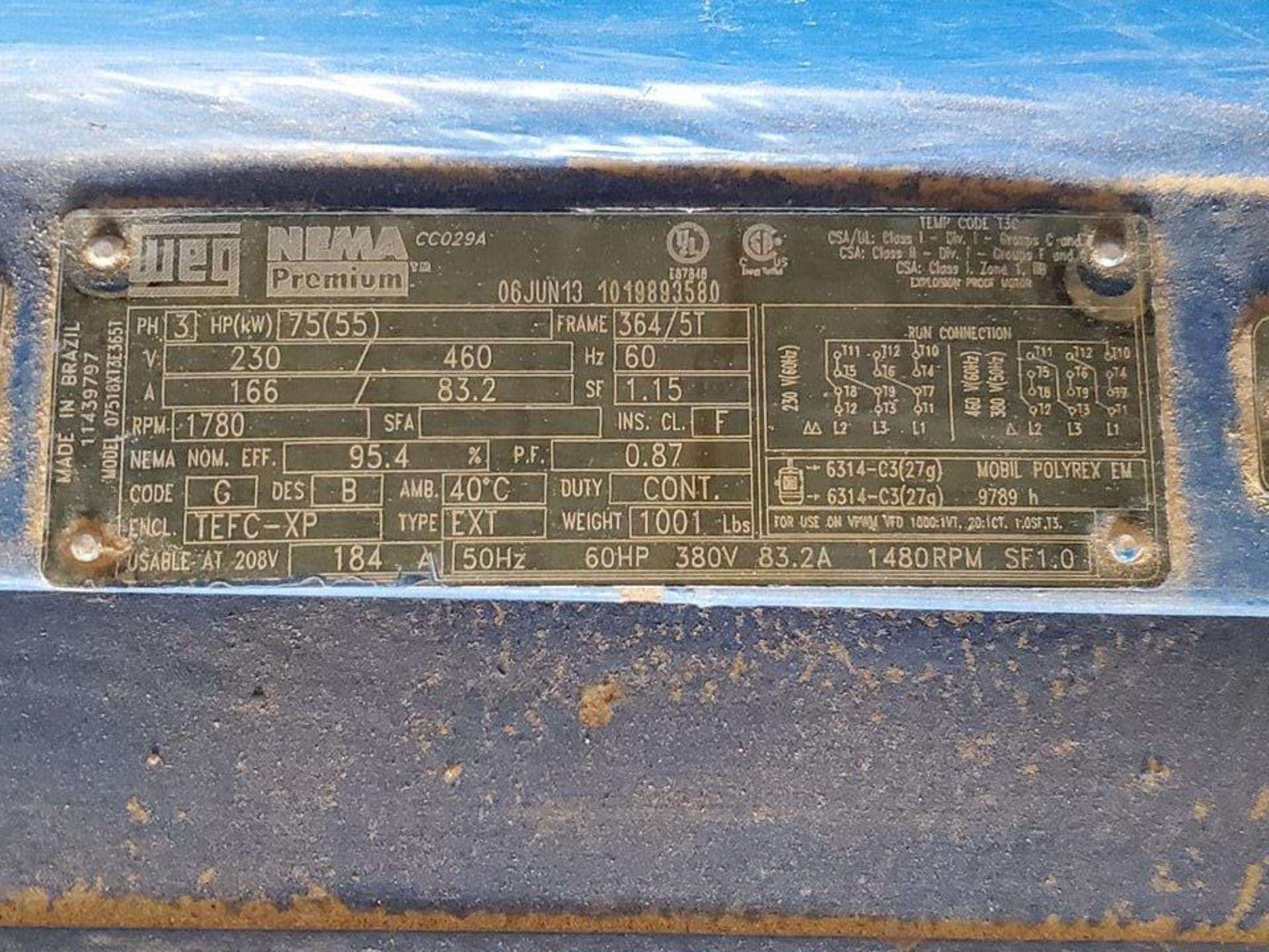 "2013 Ace 250X Series 5x6x1 Centrifugal Pump Imp Dia: 11"" RH, -20C-65C; W/ 75HP Weg Motor, 1780RPM, - Image 7 of 7"