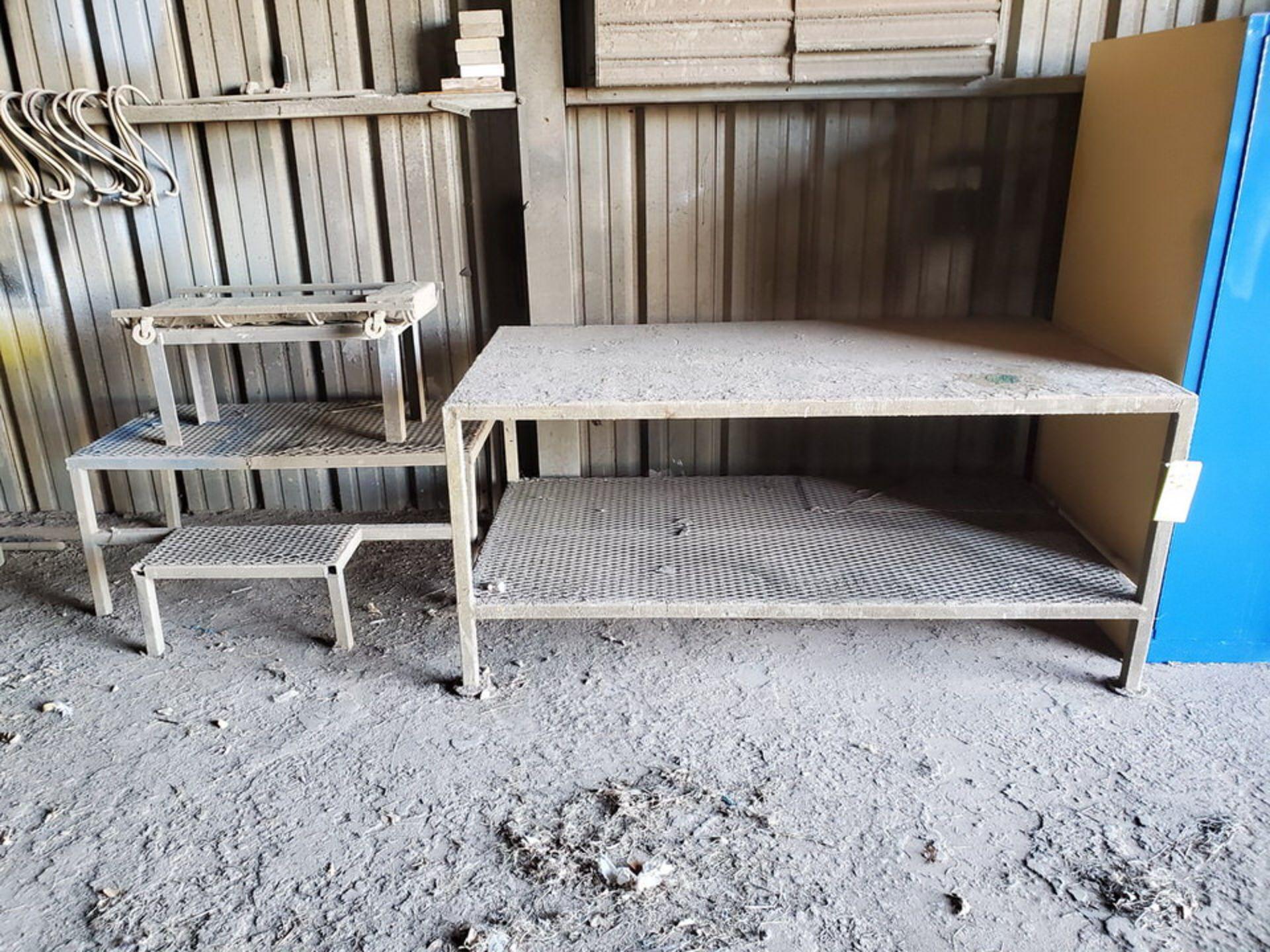 "Table & Platforms Size Range: 12"" x 30"" x 14"" - 40"" x 72"" x 33""; W/ Creeper Seat"