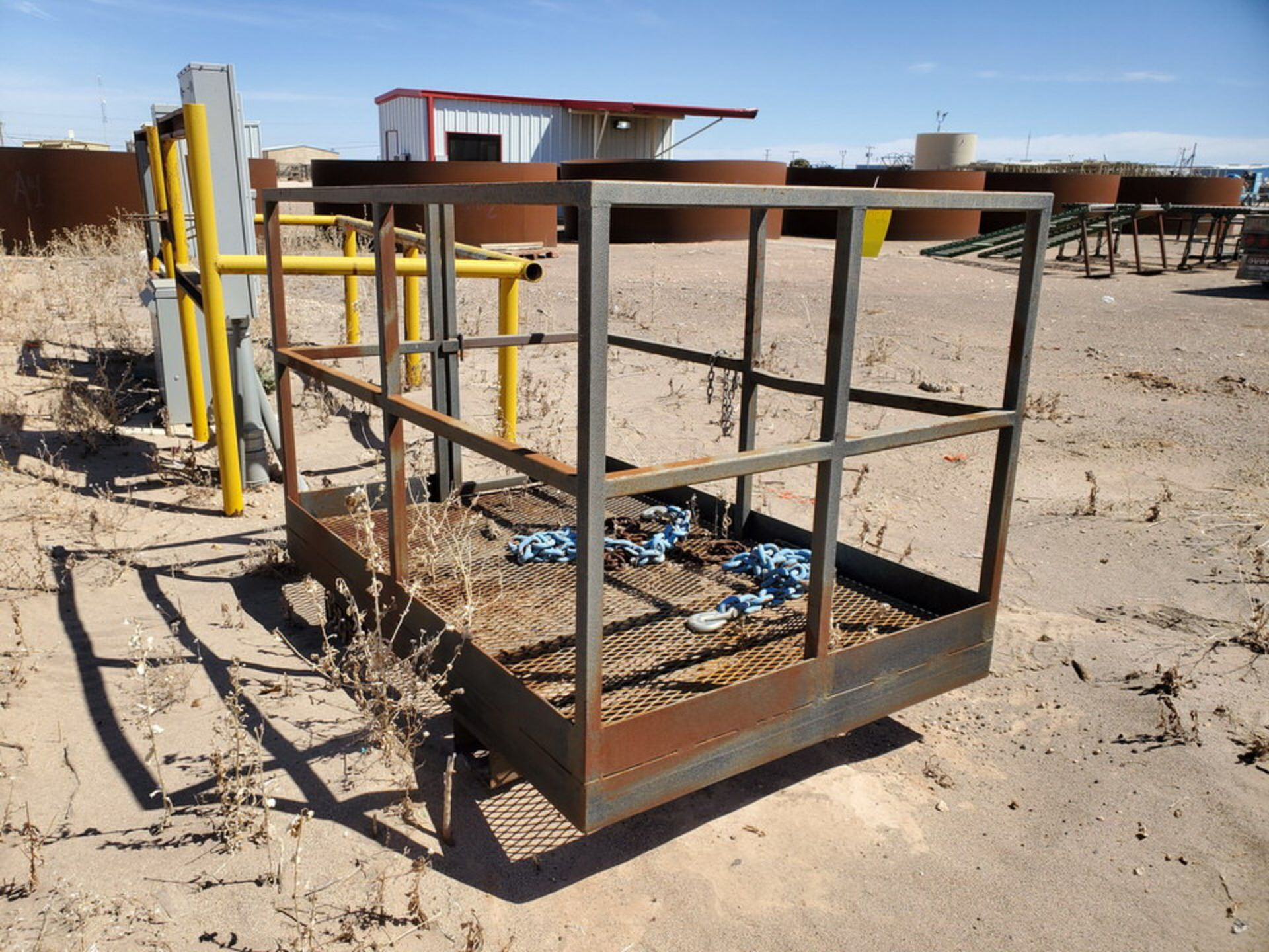 """Forklift Stl Work Basket 72"""" x 48"""" x 50""""H; W/ Lifting Chains - Image 4 of 7"""