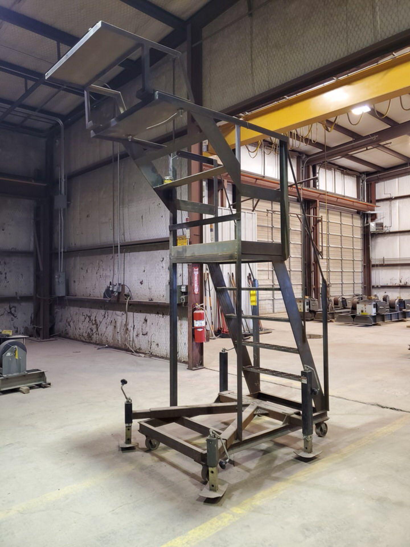 """Stl 4-Step Roling Platform Ladder 6' x 4'6"""" x 10'H; 7K Cap. - Image 5 of 8"""