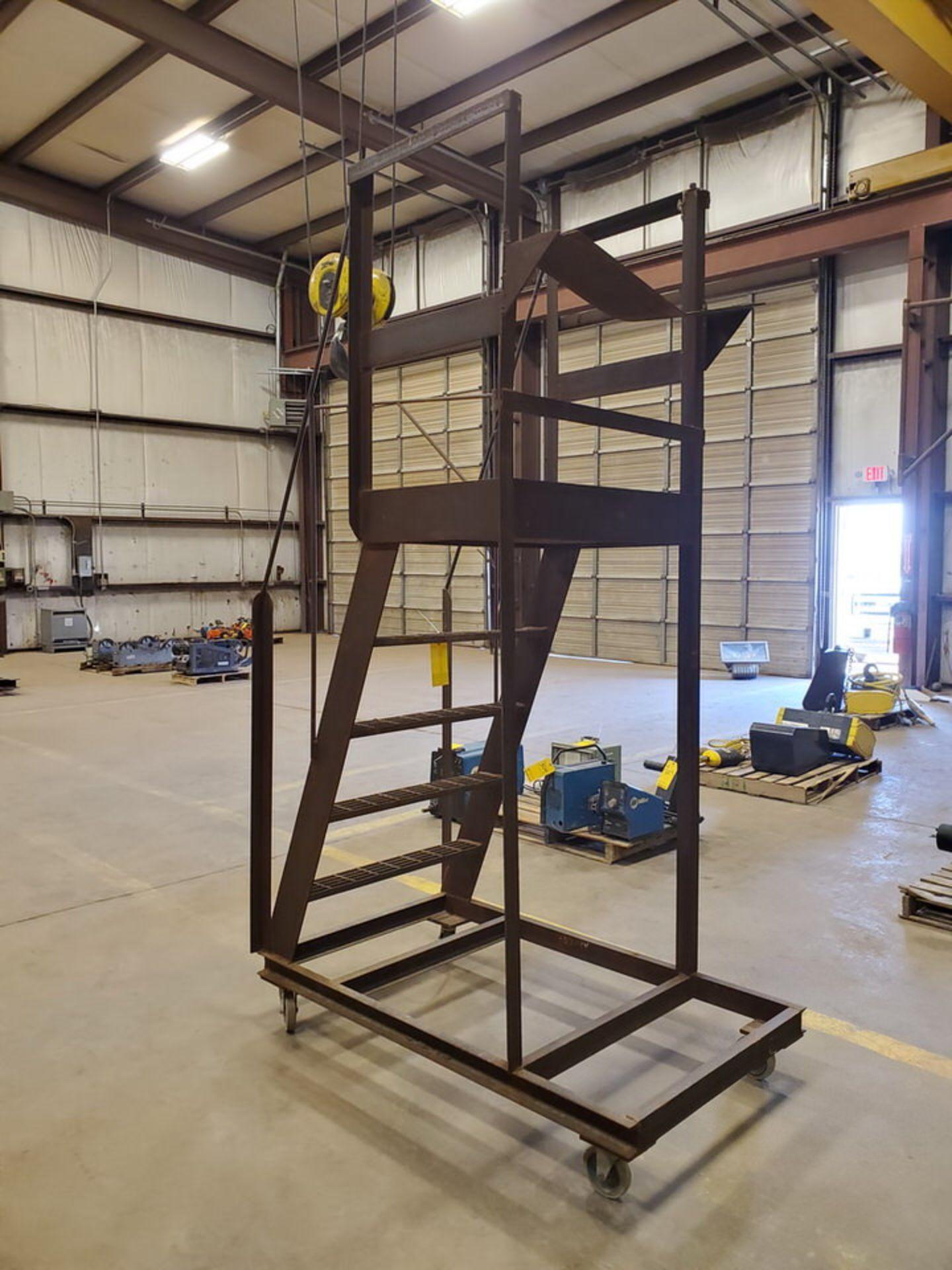 """Stl 4-Step Roling Platform Ladder 5'3"""" x 3' x 8'9""""H; No Cap. - Image 5 of 6"""