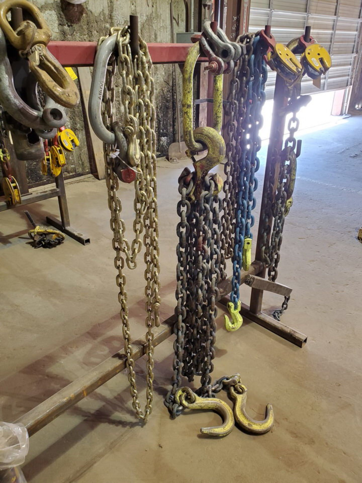 Assorted Lifting Chains & Straps W/ Rack 1 Ton & Other - Image 5 of 6