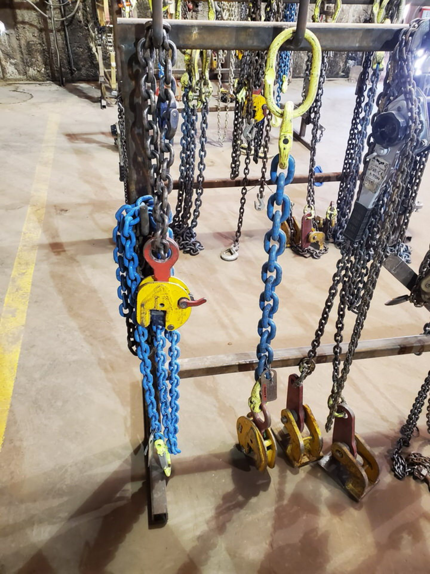 Assorted Lifting Chains & Straps W/ Rack 1 Ton & Other - Image 3 of 8