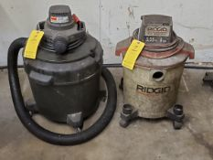 (2) Portable Wet/dry Vacs (1) Dayton, 120V, 60HZ, 11A; (1) Ridgid, 3.25HP, 8Gal