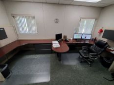 Office Furniture Cubicle Style 6-Section Wood Desk, W/ 2-Door File Cabinets; (2) Single Door File