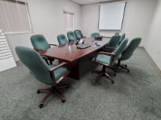 """Conference Room (1) Conference Table, 12' x 4' x 2'5""""H; (12) 5-Caster Chairs; (1) Chair; (1)"""