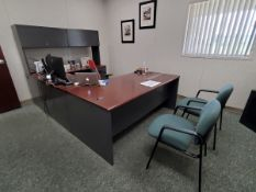Office Furniture (1) U-Shape Wood Desk, W/ 4-Drawers; (2) Chairs (Red Executive Chair Excluded)