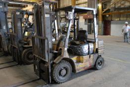 """Caterpillar DP25 Forklift, Cap: 5,000 lbs, Lift Ht: 120"""", Pneumatic Tires"""