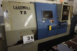 LEADWELL CNC LATHE, MDL: T-8, FANUC SERIES O CONTRL, 12 POSITION TURRENT, 16C COLLET CLASER,