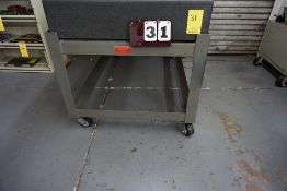 """PRECISION BLOCK GRANITE SURFACE PLATE, 8"""" THICK X 36"""" X 60"""" W/ STAND ON CASTERS, NO CONTENTS"""