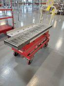 "Dayton Hyd Roller Transfer Scissor Cart W/ Roller & Ball Conveyor, 90lb cap.; 39-1/2"" x 22"";"