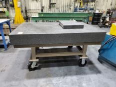 """Starrett Granite Surface Plate 6' x 4' x 8"""", W/ Rolling Cart (Smaller Surface Plate Excluded)"""