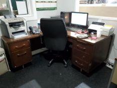 Contents Of Room (1) L-Shape Desk 5-Drawer Desk, (1) Book Shelf, (1) HP Laserjet 3050 Printer, (1)