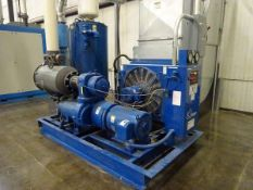 Quincy QSV-100 vacuum pump, 100HP, s/n 15453, 49,734 hrs w/ receiving tank and air cooler (Located