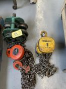 LOT (3) Pcs. Budgit 1 Ton Chainfall, Wesco 3 Ton Chainfall & Trolley (RIG PRICE $10.00)