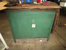 (1) 2-Door Green Metal Cabinet
