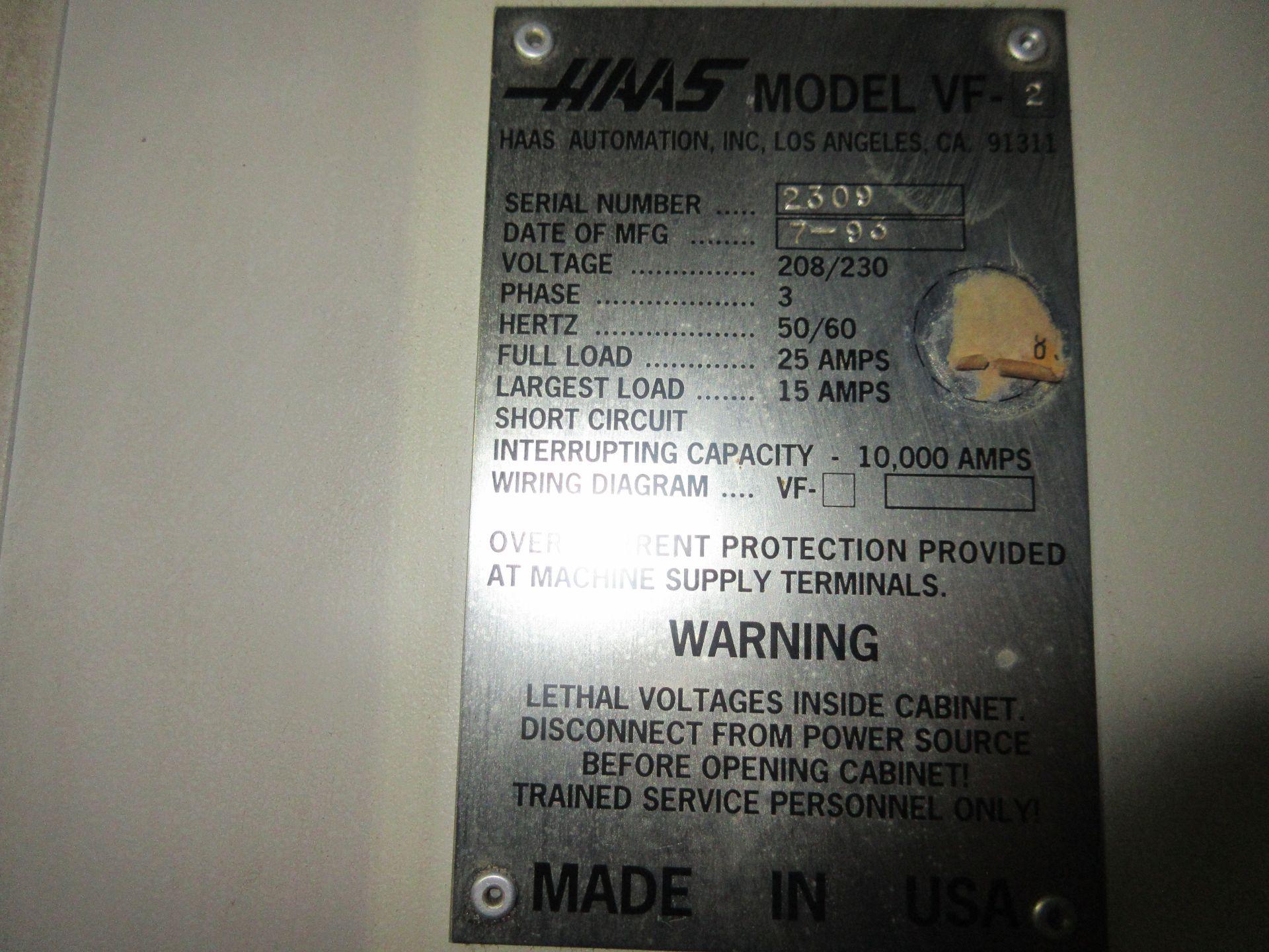 (1) 1993 Haas VF-2 CNC Vertical Milling Machine S/N 2309 - Image 7 of 7