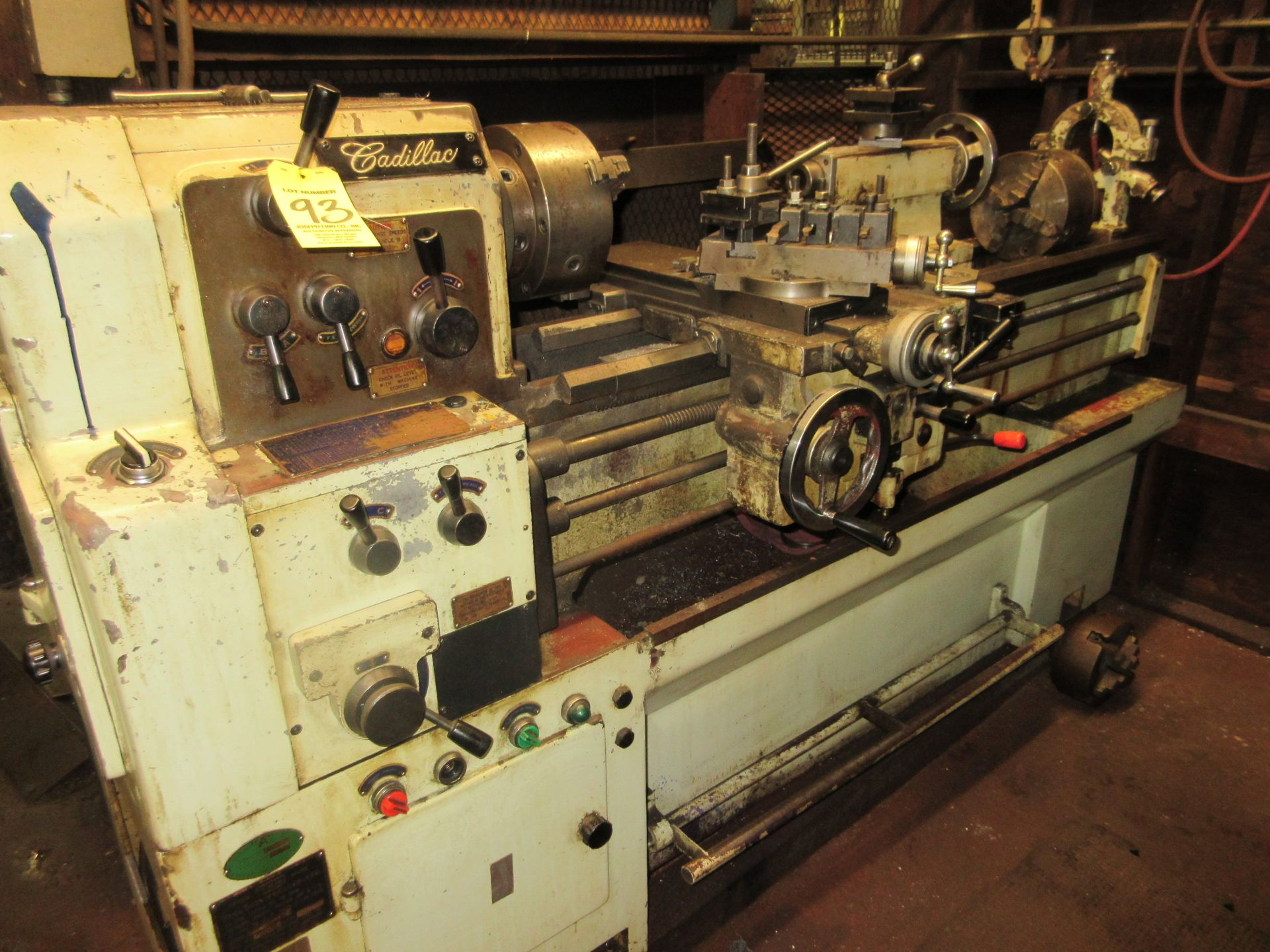 """(1) Cadillac 1040 Toolroom Lathe (1) 8"""" 3 Jaw & (1) 8"""" 4 Jaw Universal Independent Chucks & Steady"""