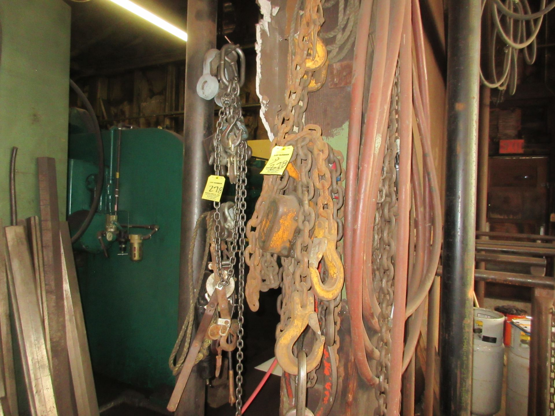 LOT Asst. Chains, Hooks, Slings on Wall - Image 2 of 2