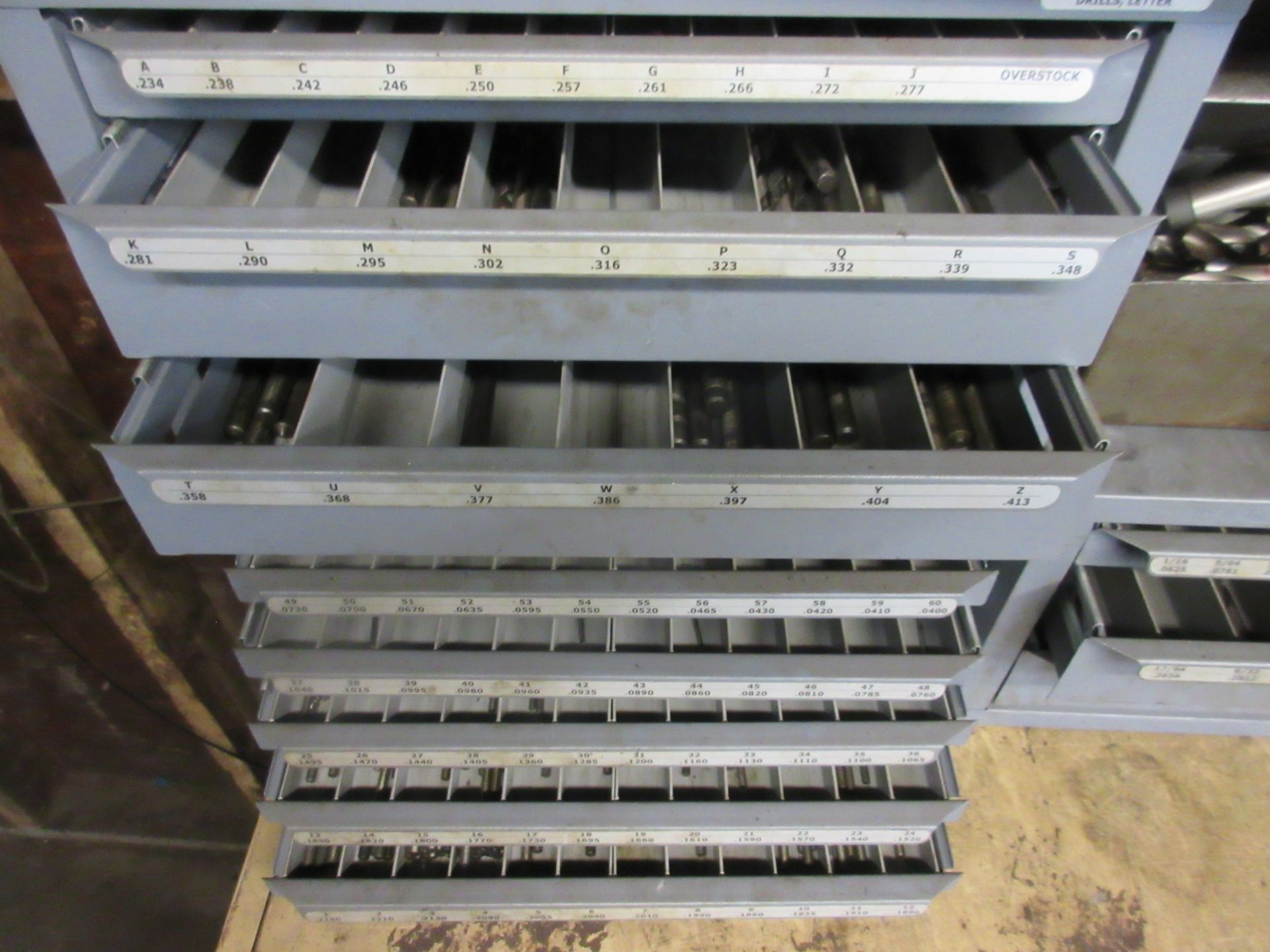LOT (3) Drill Index Cabinets, Drills, Mills, Reamers, in Cabinets & on Shelf - Image 3 of 5