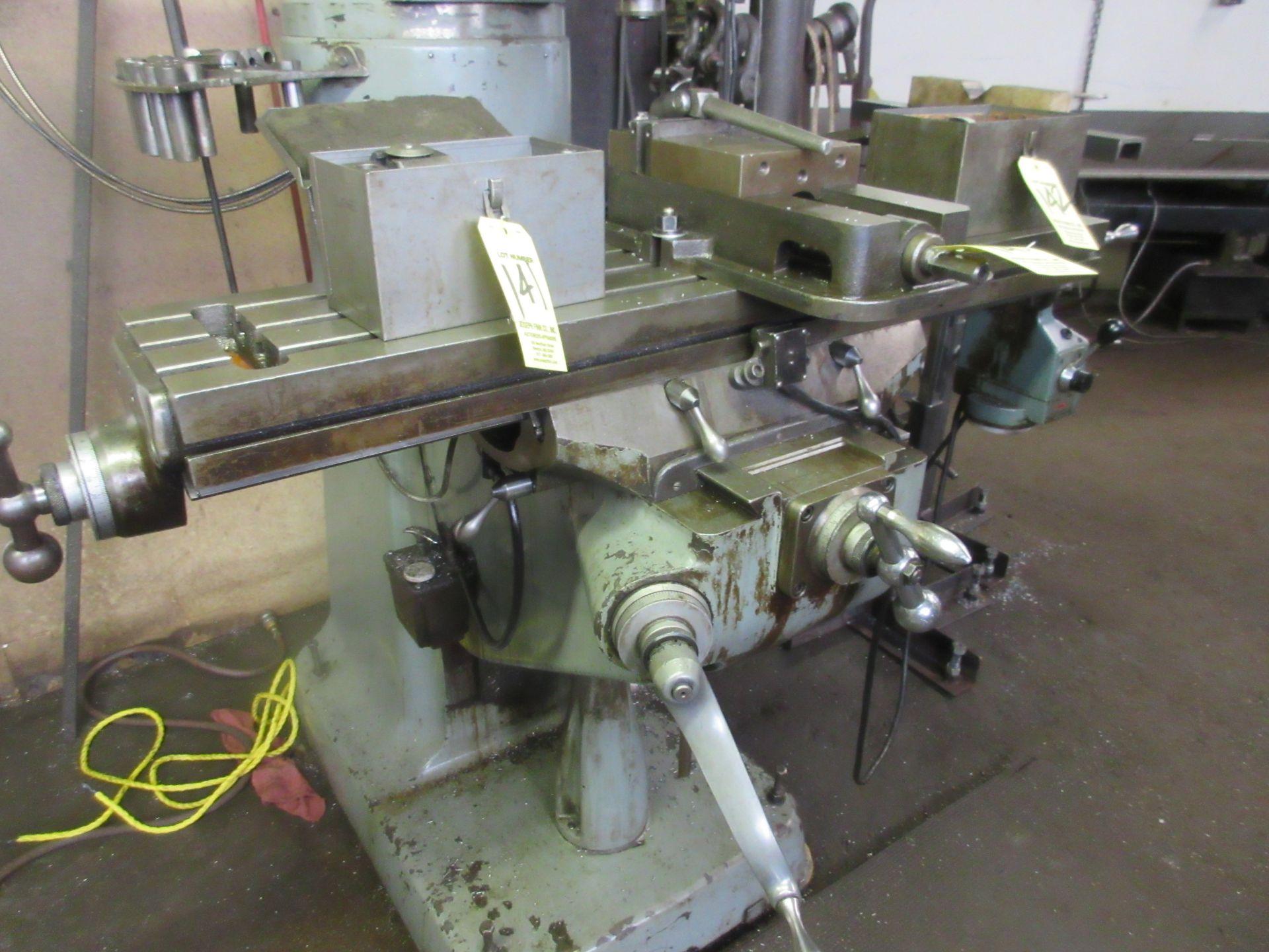 (1) Bridgeport Series 1 2 HP Vertical Miller S/N 233704, Power Feed Table - Image 3 of 6