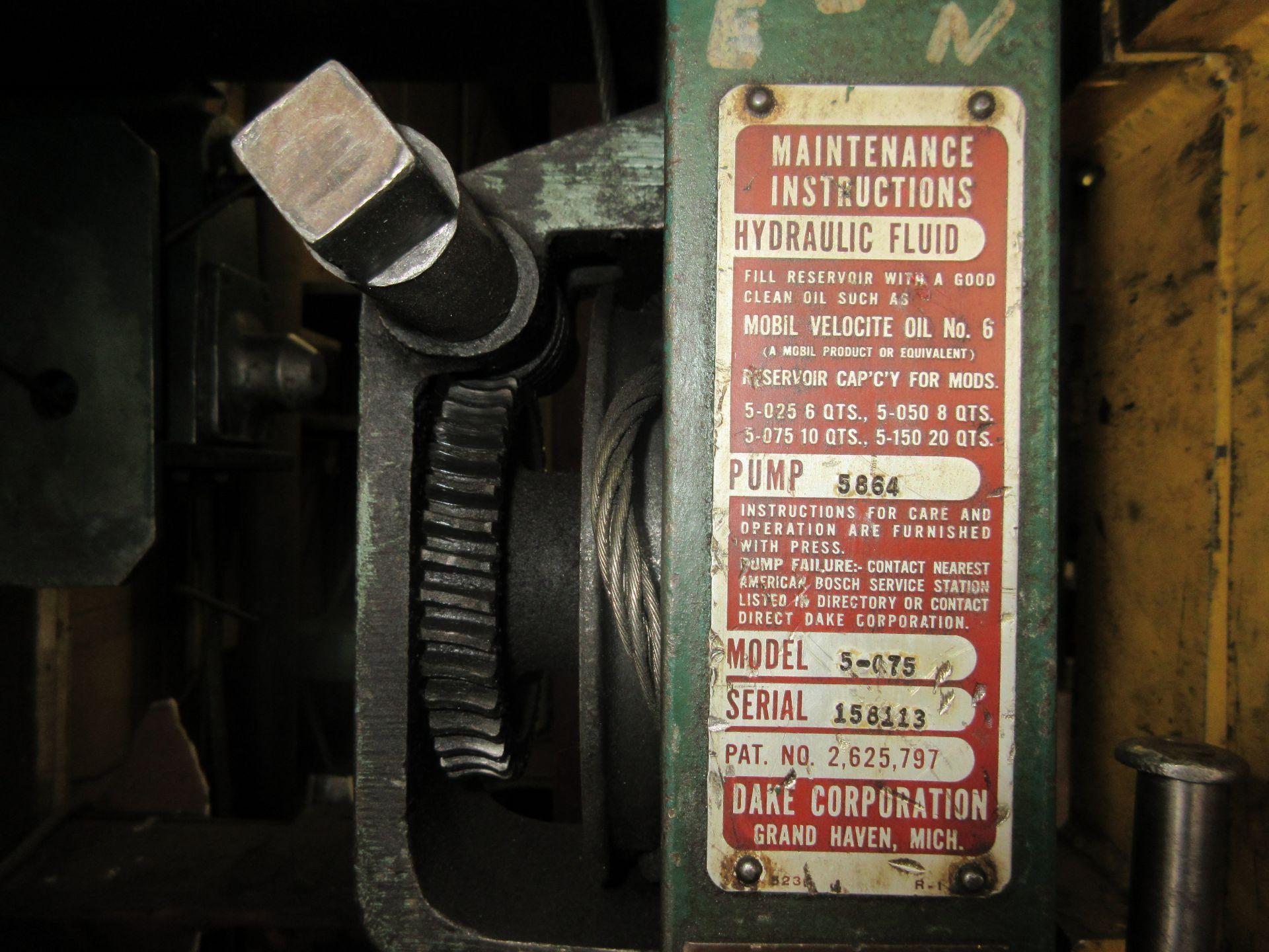 (1) Dake 5-075 H-Frame Press s/n 158113, 75 Ton - Image 2 of 3