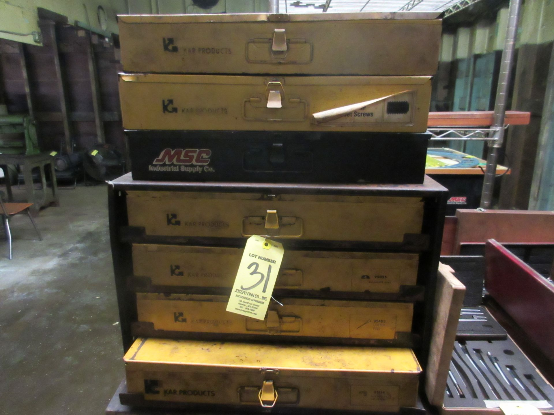 LOT 4-Drawer Cabinet w/ Hardware, (3) Boxes of Asst. Hardware