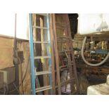 """LOT (1) Blue 6' Extension Ladder, (1) Wood 8"""" Ladder"""