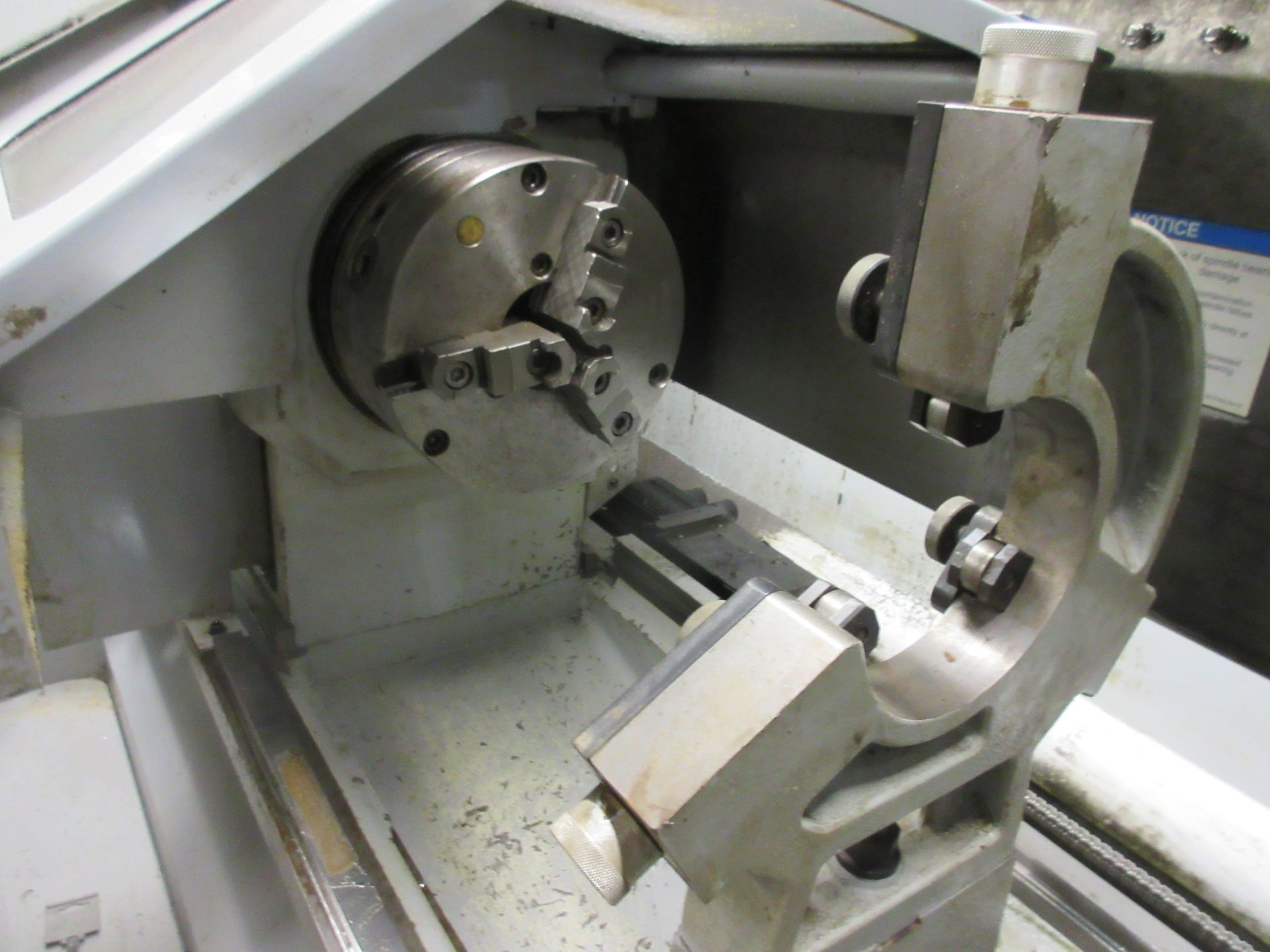 (1) 2008 Haas TL-2 CNC Lathe S/N 3081060, With (4) Position Tool Changer, 3 Jaw Chuck & Steady Rest - Image 4 of 10