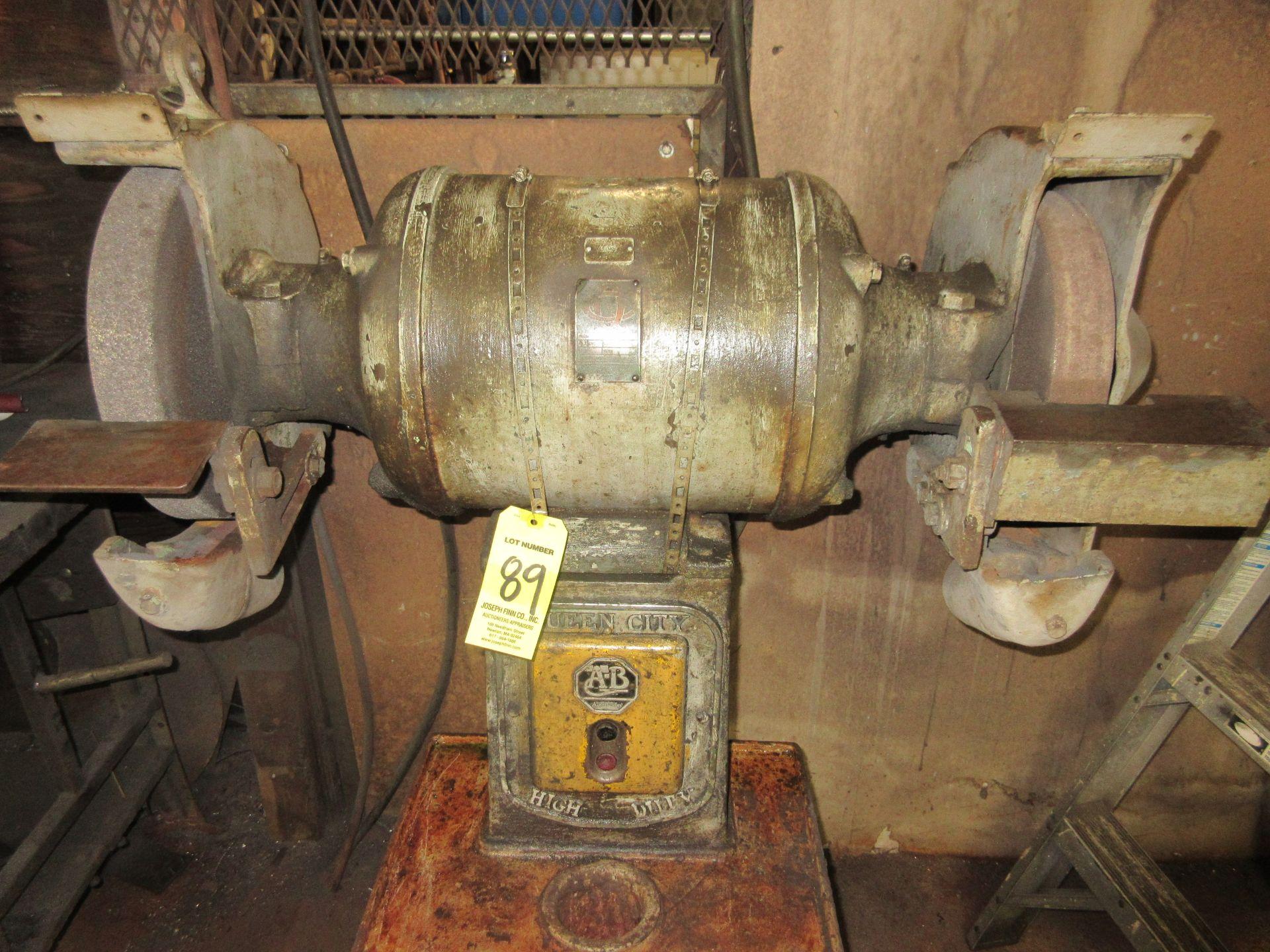 (1) A-B Queen City D.E. H.D. Pedestal Grinder, 5 H.P.