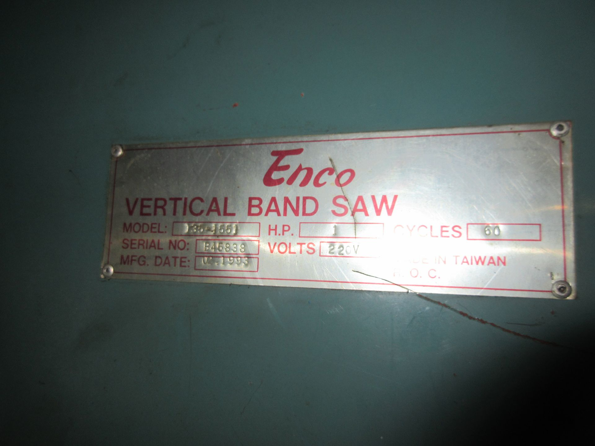 (1) Enco 135-1551 Vert. Band Saw, S/N B45838, (1) H.P., Blade Weld Attachment - Image 2 of 3