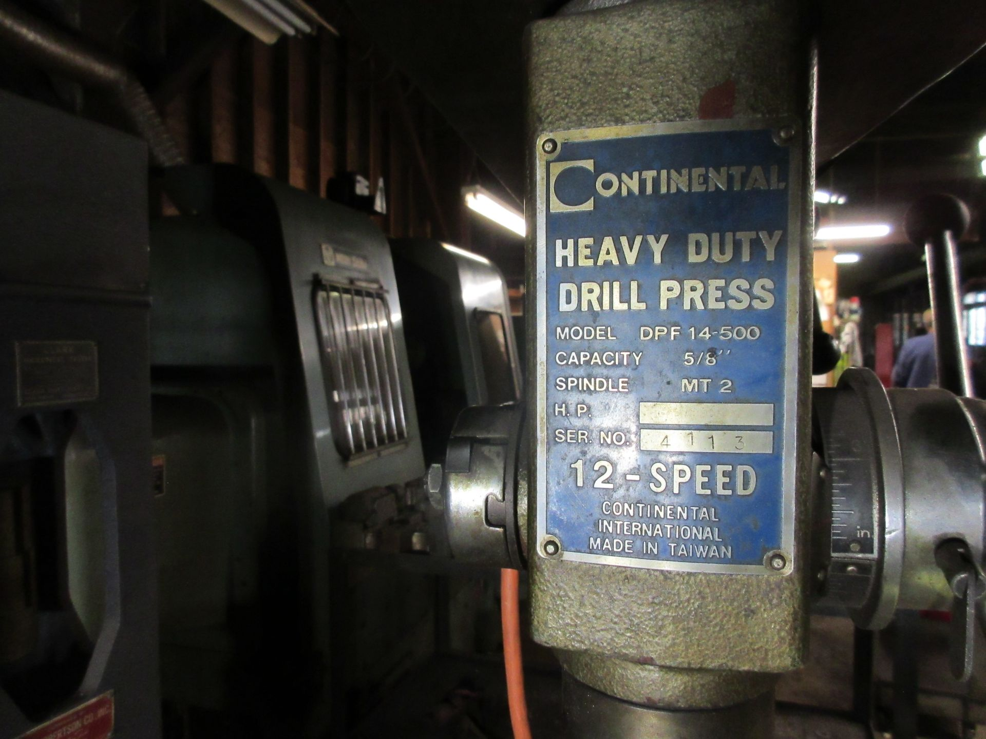 "(1) Continental DPF-14 Floor Drill w/ ½"" Chuck - Image 2 of 2"