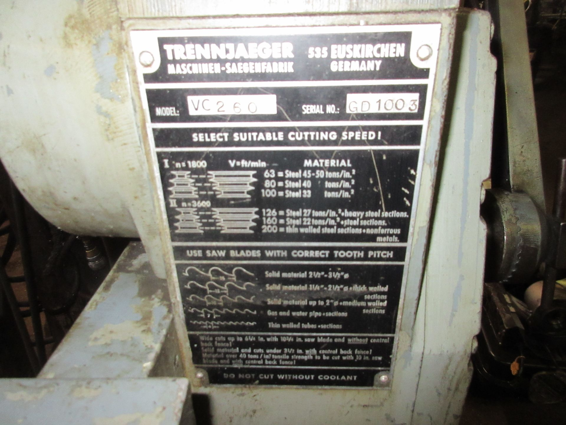 (1) Trennjaeger Promacut VC260 Cut Off Saw S/N GD1003 - Image 2 of 3