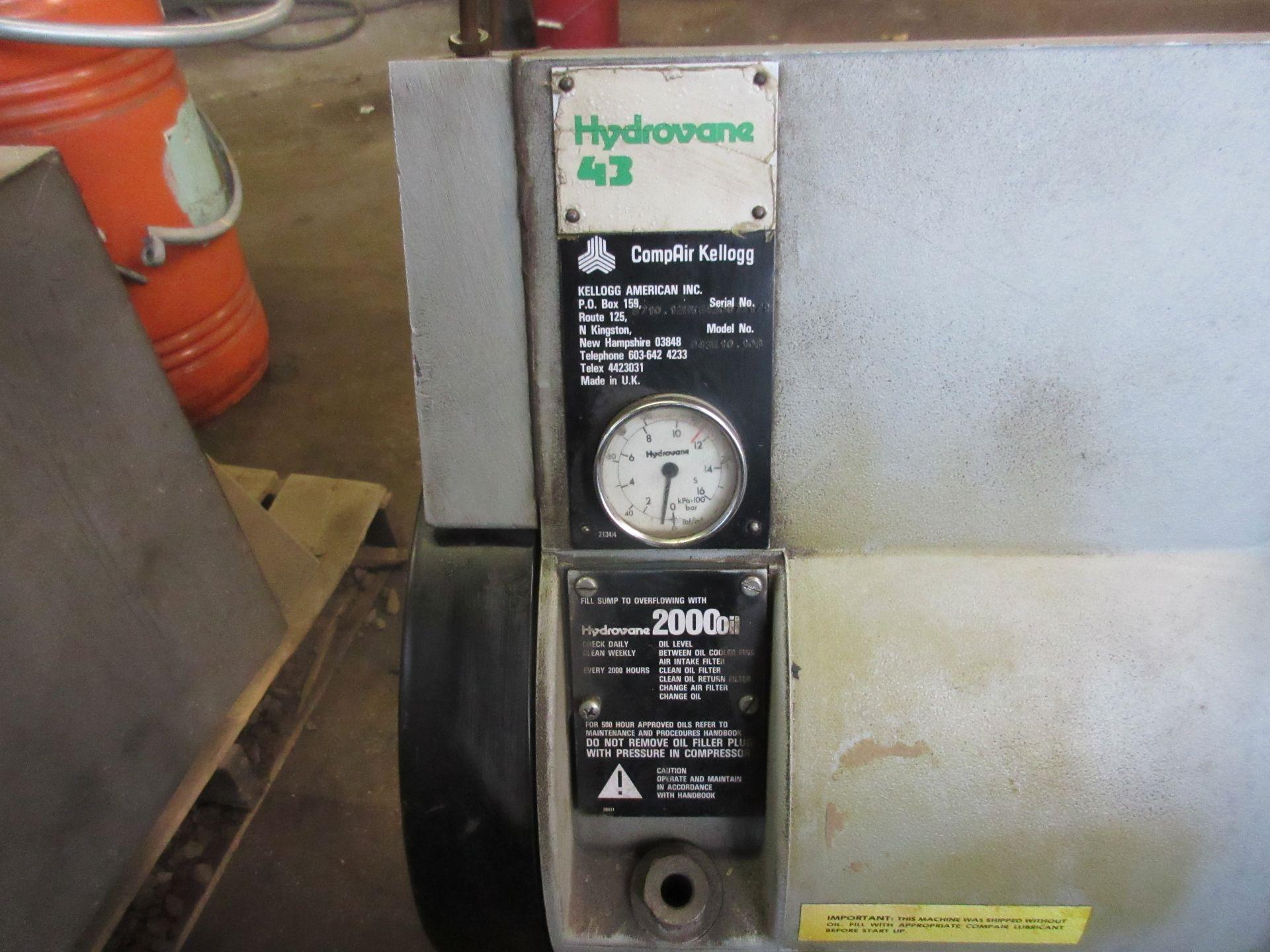 (1) Hydrovane 43 Rotary Screw Compressor M/N 043K10.108 S/N 8710.12HV643007/1/1 - Image 2 of 3