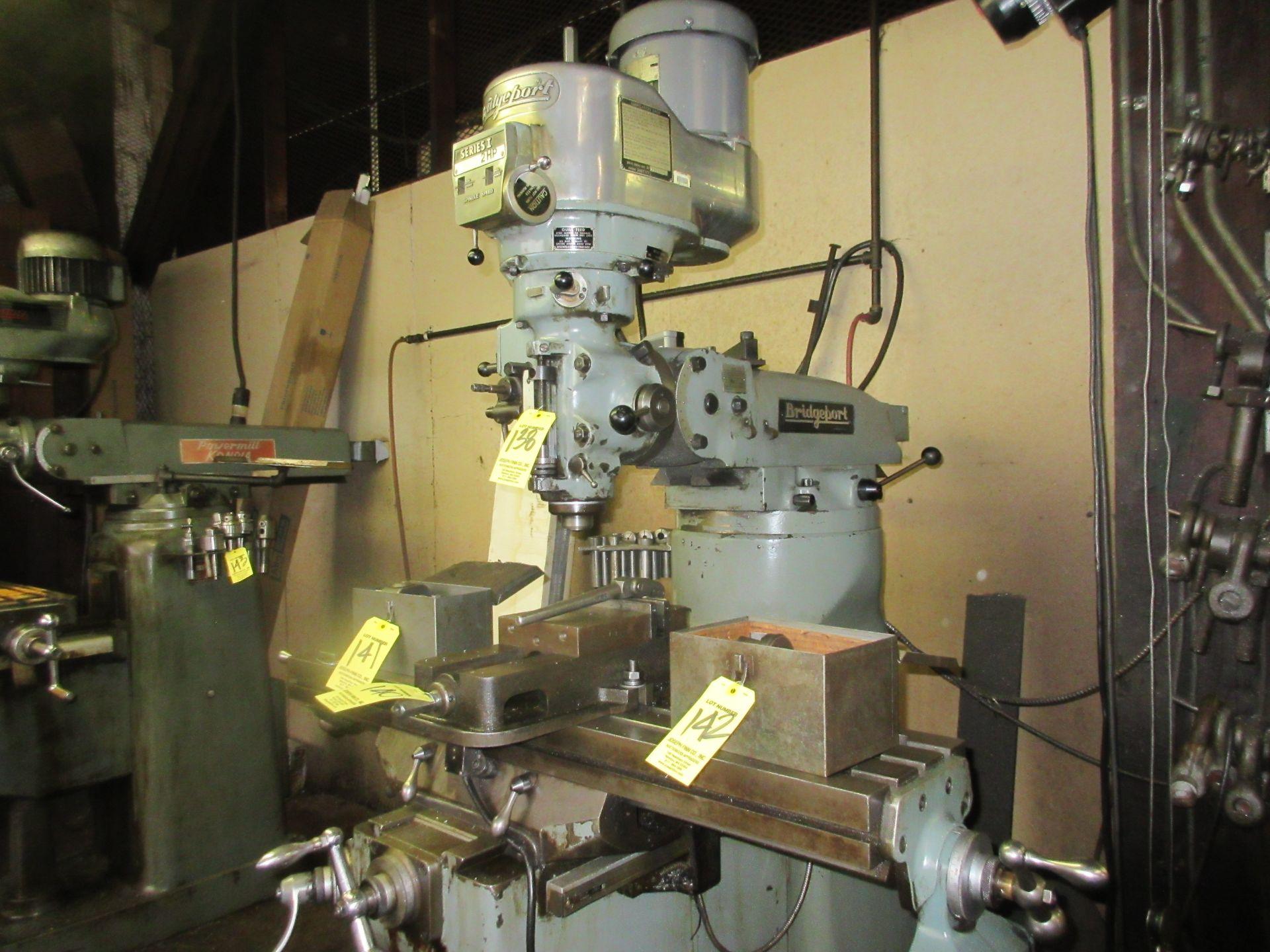 (1) Bridgeport Series 1 2 HP Vertical Miller S/N 233704, Power Feed Table