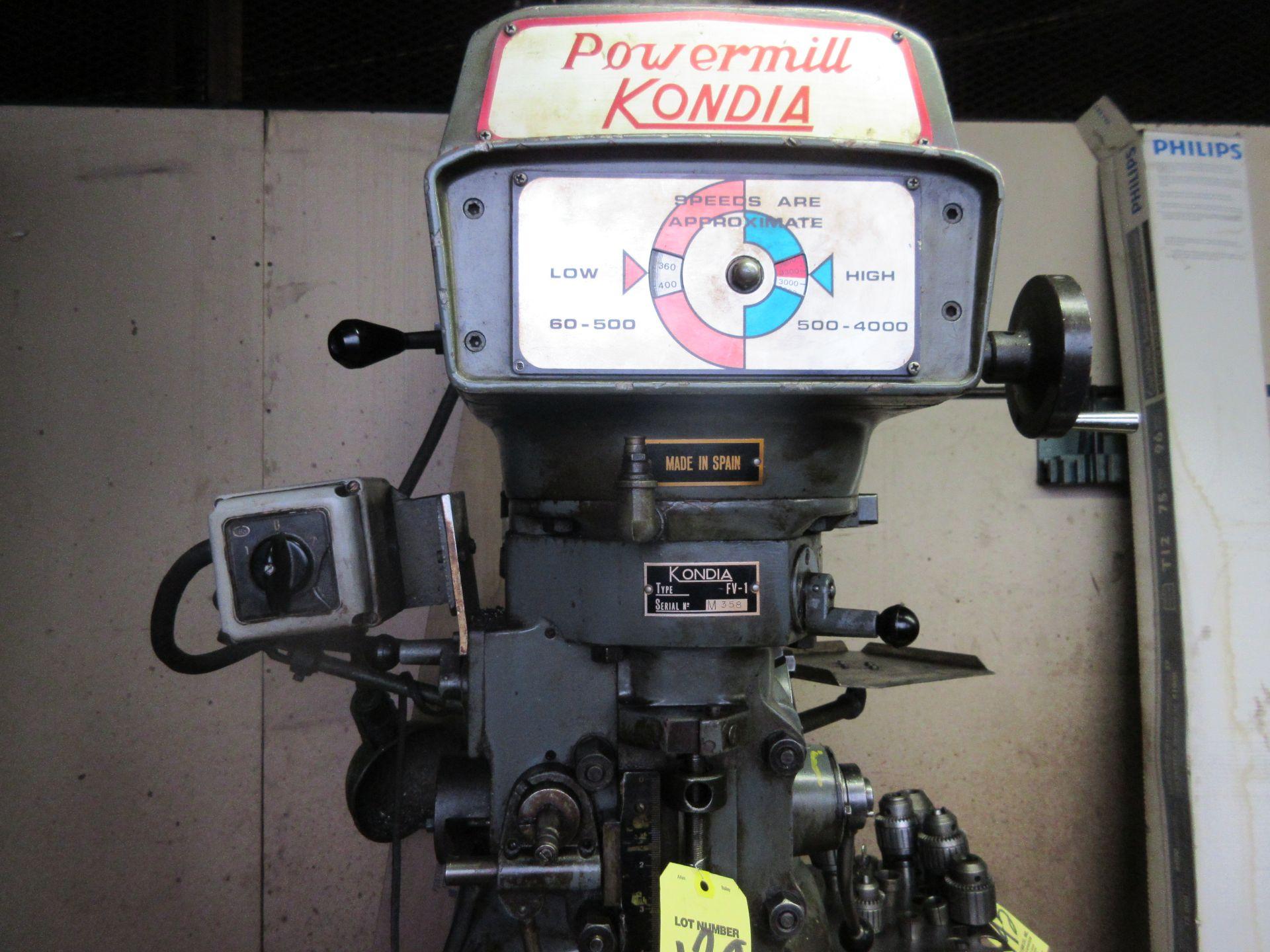 (1) Kondia Powermill FV-1 Vertical Miller S/N M358 - Image 3 of 5