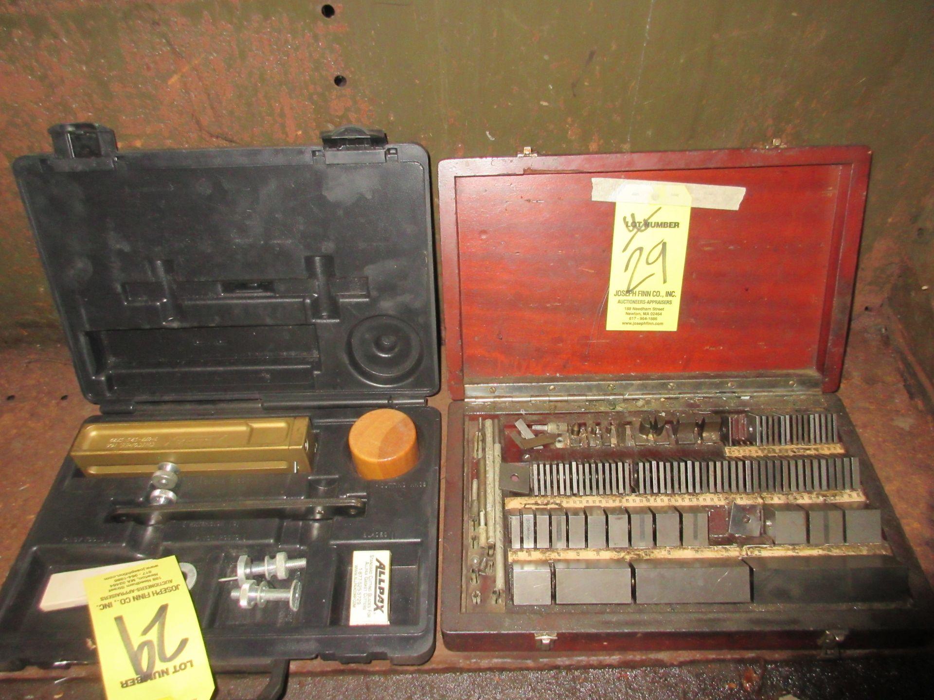 "LOT Set of Block Gages , Alldax 37"" Gasket Cutter Kit w/ Cutting Board"
