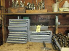 LOT (3) Drill Index Cabinets, Drills, Mills, Reamers, in Cabinets & on Shelf