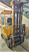 FORKLIFT - HYSTER ELECTRIC MOD. E503, 5000 LB., 48V, 150 IN. LIFT, METER READS 4640 HRS., W/ HOBART