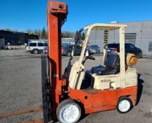"Nissan Mod. CPF02A25V, 5000 lb. cap., 218"" lift, side shift, propane, cushion rubber, 3407 hrs.,"