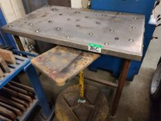 """ROLLER BALL-TOP TABLE 43""""L X 37""""WX37""""H W/ MOBILE PARTS STAND"""