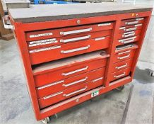FABRICATOR DIES - RED TOOL CHEST C/W CONTENTS OF 1 1/4 IN. AND 3 1/2 IN. HOLDERS, PUNCHES TOOLS