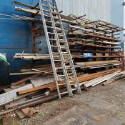 LARGE LOT OF HSS, FLAT BAR, ANGLE IRON, PIPE, WOOD TIMBERS ETC.
