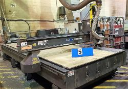 CNC ROUTER - 2004 MULTICAM 5000 5-307-R, W/ RIDE-A-LONG 8 POS. TOOL CAROUSEL, FULL VACUUM TABLE P/W