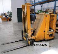 CLARKLIFT ELEC. FORKLIFT MOD. NST40-80-964, 106 IN. LIFT, 2,500 LB. CAP., NARROW AISLE STAND UPTILT,
