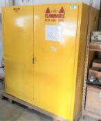 JUSTRITE MOD. 25995 AUTOMATIC FLAMMABLE LIQUID STORAGE CABINET C/W CONTENTS