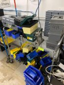 Rack with Bins, tool boxes and various tubs