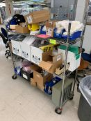 Rack with Misc supplies and printing equipment